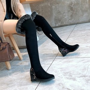 YMECHIC Fashion Black Faux Fur Tassel Overknee Boots Female Bling Snake Print Heel Over The Knee Boots Cross Tied Womens Shoes