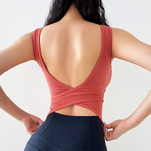 Summer Yoga Vest With Chest Pad Women Sexy Beauty U Back Cross Shockproof Running Quick Dry Sports Vest Dance Training Tank Top
