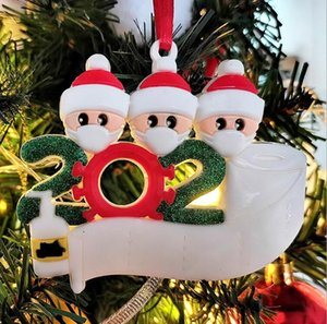 Quarantine Christmas Ornament Christmas Tree Hanging Decoration Birthdays Gift With Face Masks Sanitizer Survivor Family Of 1-6 OWA1487