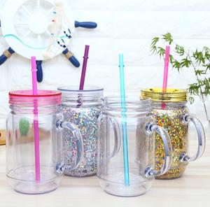 Самым дешевой 16oz Plastic Mason банки сок напитков Питьевой Массажер с ручкой Мейсон банками 16oz двойной стены пластикового стаканчика с соломой EWF1749