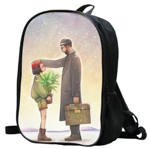 Leon backpack Jean Reno daypack Film cartoon picture schoolbag Photo rucksack Sport school bag Outdoor day pack