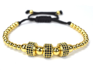 3UMeter 2020 European and American Men's Bracelet, 8MM Copper Bead Zircon Bracelet for Men's Bracelet