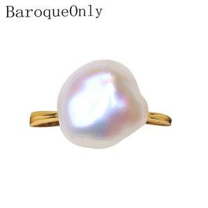 BaroqueOnly 925 стерлингового серебра 6-10mm барокко природный жемчуг Кольцо неровность цвета регулируемые Циркон инкрустированные Fine Jewelry RZA