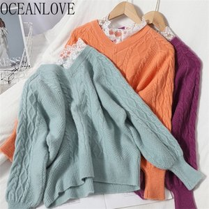 OCEANLOVE Candy Color Sweet Women Sweaters Solid V Neck Lace Girls Mujer Sueteres Autumn Winter Clothes Pullovers Fashion 18595 0926