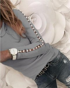 Tops Casual Natural Color Long Sleeve Skinny Tshirts Womens Hot Style Tshirts Fashion Pearl Panelled Hollow Out