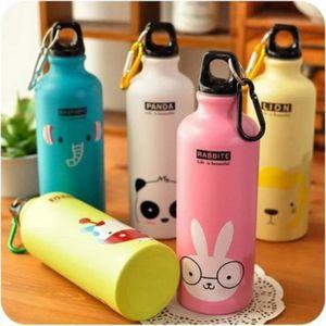 500ML Portable Water Bottle Cute Cartoon Pattern Sports Cup Candy Color Outdoor Children Girls Women Bottle Kitchen Accessories