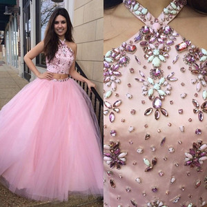 Blush Pink Halter Quinceanera Dresses Two Piece Long Tulle Crystals Beaded Prom Dress Evening Gowns Wear Graduation Homecoming Dress Cheap