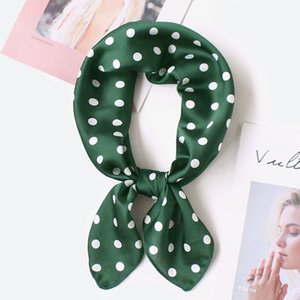Silk Scarf Women 70*70cm 2020 Spring New Small Point Decorative Scarf Small Squares Head Bag Decorative Scarves