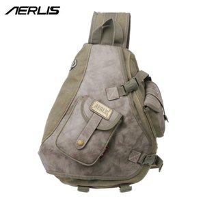 Designer-AERLIS Men Vintage Messenger Bag Casual Mens Canvas Leather Sling Bag Shoulder Cross Body Chest Pack 6215