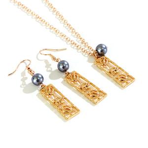 Say Hello Hawaiian Pearl Ювелирные наборы полинезийской Самоа Маршалл Стиль Vintage полые ожерелье серьги K6520