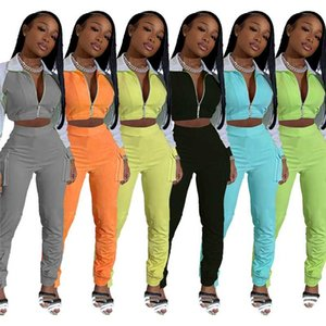 Women Fashion Sports Clothes Outfit Long Sleeve Lapel Short Top Long Pants with Pockets Female Tracksuit