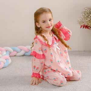 2adet Kız Pijama Takımı Bebek Pijama Pamuk Dantel Uzun Kollu Sevimli Ev Kostüm Çocuk Pijama Princess yazdır