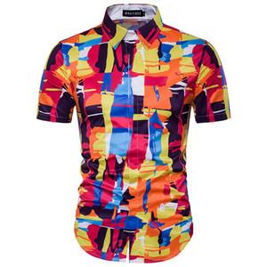 الرجال صيف جديد هاواي 3D طباعة القمم كم قميص عارضة الازياء قميص زهرة ذكر بيتش