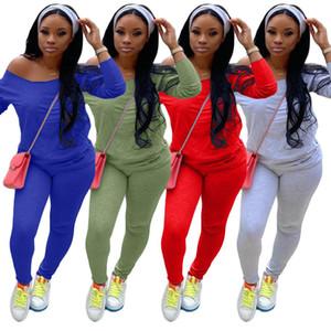 Kadınlar İki adet Seti kıyafetler Katı Rengi Kapalı omuz Uzun Kollu Top Yeni Moda Bayan streetwear giyim giyim pantolon yığılmış