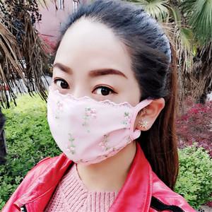 moda yüz maskesi Dantel nefes bez maske kadın karşıtı ultraviyole toz geçirmez nefes almak kolay yıkanabilir kadın yaz ince bölüm maske