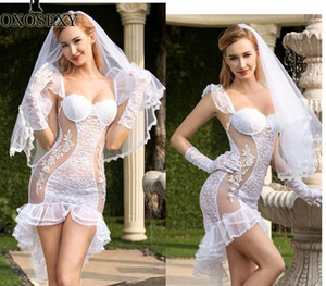 New White Bride Cosplay Tuxedo Skirt Wedding Dress veil gloves thong Sexy Baby Doll Sexy Lingerie Sexy Babydoll Costumes66