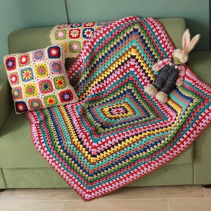 Handmade afghan blanket cushion scappa scarf carpet Hand hooked fashion crochet blanket cushion felt granny square