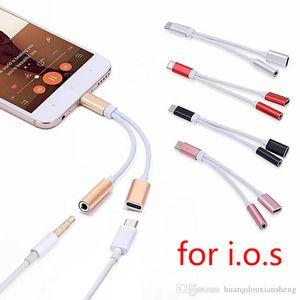 2 in 1 Ladegerät und Audiotyp-c-Kopfhörer iphone Jack Adapter-Anschluss-Kabel 3,5-mm-Aux-Kopfhörer für Smartphone 7 / 8P XS max