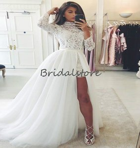 Sexy Short Beach Wedding Dresses Detachable Skirts Elegant High Neck Long Sleeve Lace Bohemian Wedding Dress With Long Train Tulle Bridal