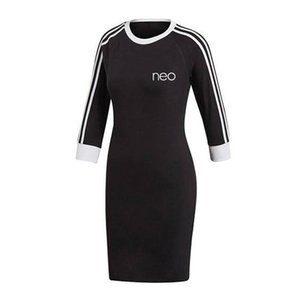 Women Dress Autumn New Style Dress with Letters Print Fashion Crew Neck Dress High Quality Asain Size M-2XL Black Pink