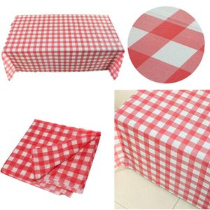 BBQ PCS Tablecloth Plastic Cloth Picnic Party Table 1 Wipe Check Gingham For Disposable Outdoor Red 160cm*160cm Cdpdo