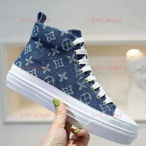 Louis Vuitton Shoes 2020 Moda lux Marque Cat Dog Mulheres Canvas Stella alta-top botas progettista Lady Side Zip Borracha Sole Lace Up Shoe Casual