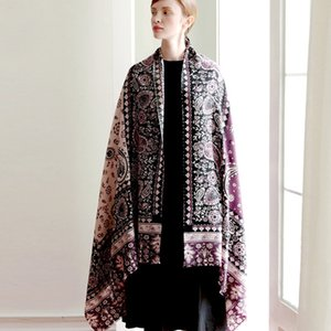 Evening coat Cape Travel Photo Square blanket Long Travel Russian Retro Style Floral Embroidery High Quality Knitted pullover