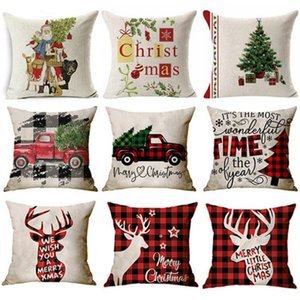 New Christmas cushion cover Pillowcase sofa cushions Pillow cases Cotton Linen pillow covers Home Decoration 45*45cm