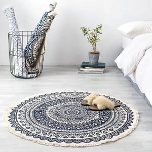 Retro Boho Round Carpet Bedroom Boho Style Tassel Cotton Rug Hand Woven National Classic Tapestry Sofa Cushion Tatami Floor Mats