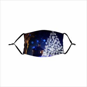 Fashion Christmas Mask Deer Snowflake Trees Christmas Trees Xmas Party Masks Anti Dust Christmas Mouth Cover Lavabile Riutilizzabile con filtro DHC2058