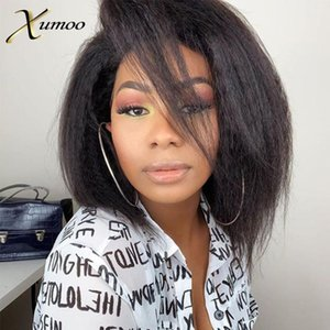 XUMOO Kinky Straight Human Hair Wigs Bob T-Part Lace Front Wigs Balck Short Bob Remy Human Hair With Bangs For Black Women