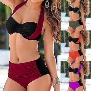 Bikini Push up 2020 Sexy Women Swimsuit Striped Patchwork Plus Size Swimwear Female Bandage Biquini Bathing suit Women S-XXXL f3