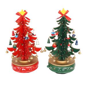 Рождество Новый Лидирующий Music Box Music Bell Вращающийся Красный Зеленый Деревья на Новый год Рождественский подарок украшение праздника
