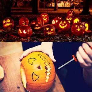 5Pcs / Set Halloween Pumpkin Carving Kit Halloween Decoração DIY Ferramenta filhos adultos Pumpkin Lantern Carving Toy Knife Set XD23968