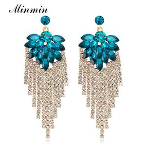 Minmin Statement Big Flower Crystal Drop Earrings for Women Shiny Rhinestone Tassel Earrings Fashion Wedding Prom Jewelry EH1506