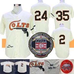 Houston Colts Jersey Nellie Fox Jimmy Wynn Joe Morgan Coopers-town 1964 Creme Jersey Tudo costurado e bordado Homens Tamanho M-3XL
