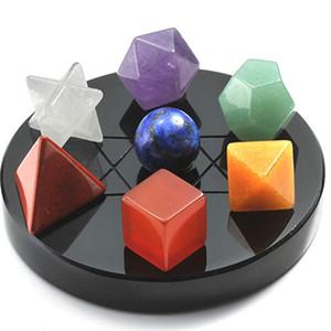 7 PCS Forma geométrica Merkaba Símbolo Colgante Muchos colores Cuarzo Stone Curing Chakra para joyería de regalo de aniversario