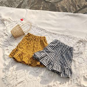 ins plus récent enfants adorables filles bébé coton volants occasionnels d'été élégant coton linge de vêtements à carreaux jupes longueur genou tout-petits vêtements 6M-5Y