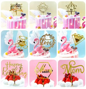 Birthday Party Decorations Acrylic Cake Plugin Happy Birthday Letters Card 13-17cm Cake Decorations Baking Decoration Cake Flag HHB1556