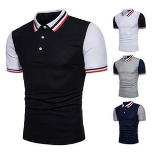 Casual camisas de polos de la raya del verano Print Designer gira el collar abajo remiendo Diseñador Tees Hombres Polo para hombre