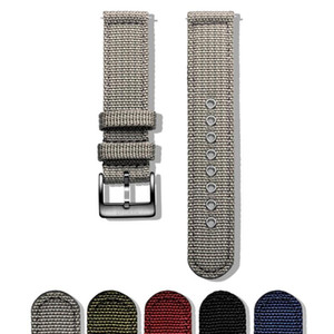 Hemsut Canvas Watch Bands Grey Quick Release Quality Nylon Watch Straps and Heavy Duty Brushed Buckle 18mm 20mm 22mm 24mm