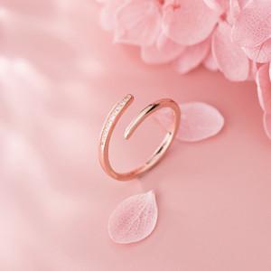 925 ouverture réglable femmes anneau style japonais et coréens simple anneau d'argent en or ligne bijoux de fiançailles de mariage de bijoux en diamant