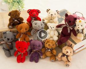 Gefüllte Teddybär Plüschtiere Mädchen-Babyparty-Parteibevorzugung Karikatur Tierschlüsseltasche Anhänger 12cm Weihnachtsgeschenke