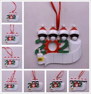Federal Express 2020 cuarentena Adorno de Navidad Negro blanca de la familia de la decoración DIY Nombre de resina Decoraciones de Navidad pandemia Distanciamiento social