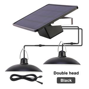 LED солнечный свет подвеска Открытый Крытый солнечной энергии лампы с линии лампы проливают свет Освещение Для дома и сада Yard двойной головкой лампы