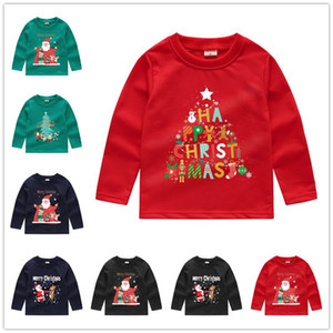 Christmas Children Hoodies Kids Boys Girls Sweatshirts Sequin Long Sleeve Sweater T-shirt Crew Neck Pullovers Tops Clothing Outwear E92403