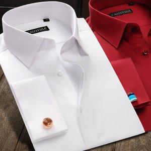 New Luxury Mercerized Cotton French Cuff Button Shirts Long Sleeve Men Wedding Shirts High Quality Dress Shirts with Cufflinks T200914