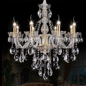 Modern Crystal Chandelier with 8 Lights Living Room Hanging Lamps Indoor Lighting Luxury Lustre Spiral Stairs K9 Crystal lamp