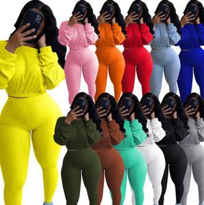 Los pantalones del chándal de las mujeres del diseñador otoño dos equipos Piezas palo de la manga Top plisado pantalones de las señoras de la nueva manera Conjunto Sportwear 8869