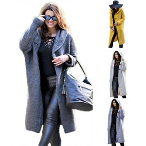 Women Autumn Casual Solid Color Knitted Button Long Sleeve Hooded Midi Overcoat winter coat women christmas sweater cardigan